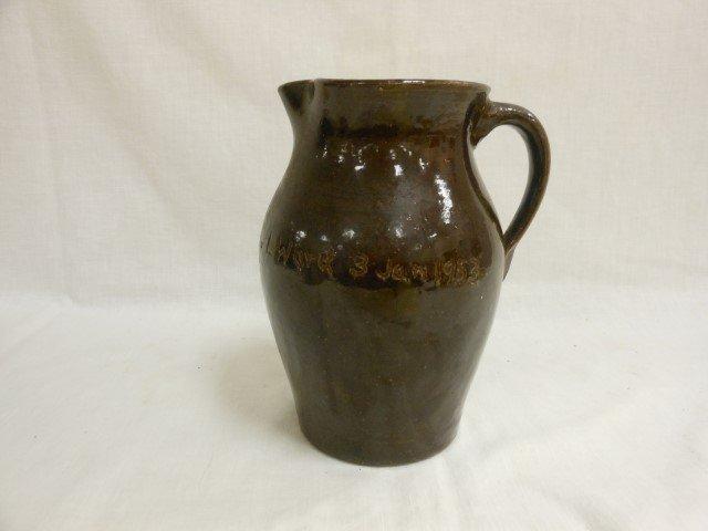 "8 3/4"" brown pottery pitcher impressed ""Col. J.L. Ward"