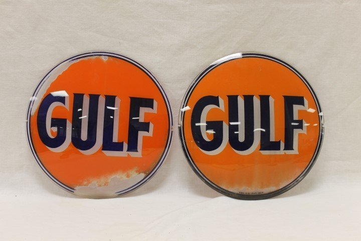 """(2) Gulf 12 1/2"""" globe faces, with wear"""
