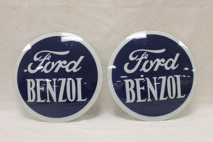 """Ford Benzol 13 7/8"""" gas globe lens/faces (2)"""