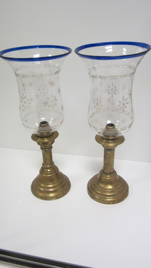 Pair of English brass candle or peg lamps with etched
