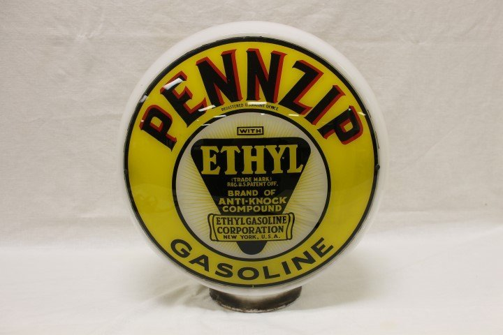Pennzip Ethyl Gasoline wide body 3-piece glass globe,
