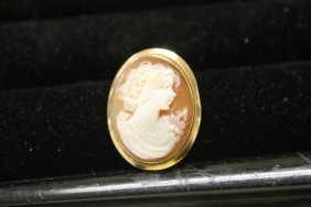 """10k Yellow Gold Italy Cameo Brooch/pendant, 15/16"""""""