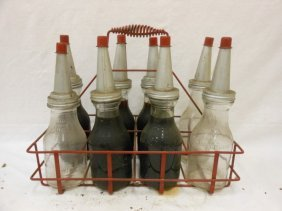 (8) Glass Quart Oil Bottles With Spouts In Metal