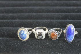 Sterling Silver Rings: Siz 6 3/4 With Oval Lapis