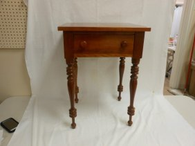 Campbellsville Style Cherry One Drawer Turned Leg Stand