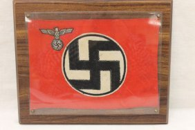 """Small Nazi State Flag In Frame, App. 10 1.2"""" X7 1/2"""","""
