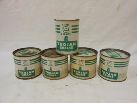 (5) Cities Service Trojan Grease 1 Lb. Cans, 1