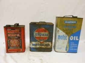 (3) Oil Cans: Marvel Mystery Oil 1-gallon, Surface