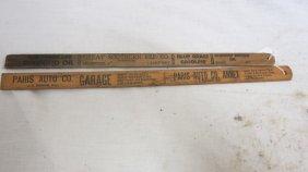 (2) Wooden Gas Tank Measuring Sticks: Paris Auto