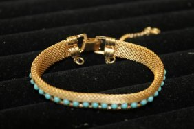 Vintage Mesh Bracelet With Inset Stones And Turquoise