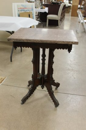 Walnut Eastlake Parlor Table With Brown Marble