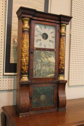 Seth Thomas Triple Decker Mahogany Veneer Mantle Clock