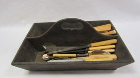 Dovetailed Walnut Cutlery Carrier With Cut-out Handle