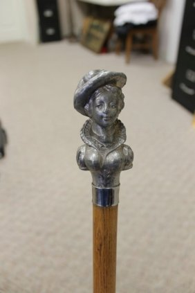 Cane With Carved Pewter Top Of A Victorian Lady