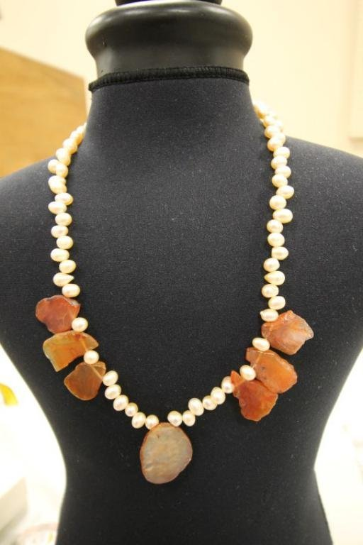 """19"""" fresh water pearl and agate necklace."""