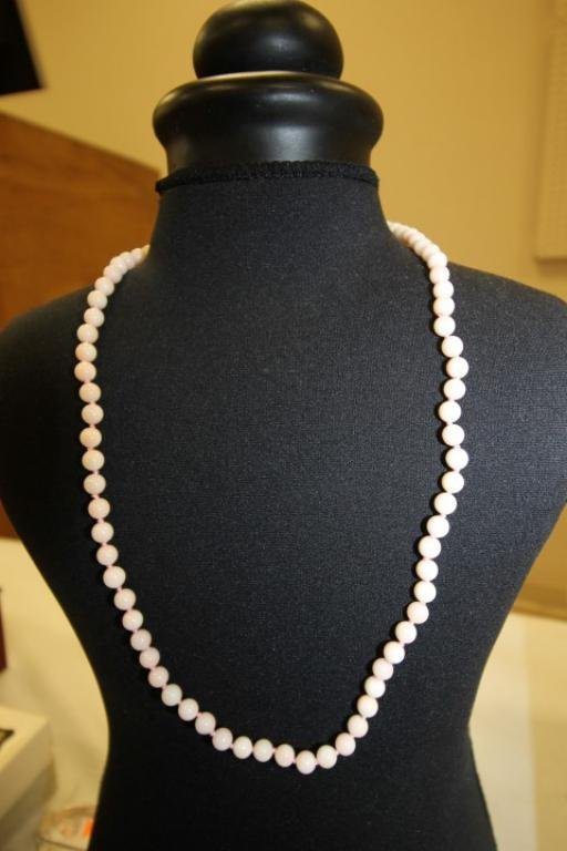 """23"""" knotted pink bead necklace with .585 yellow gold"""