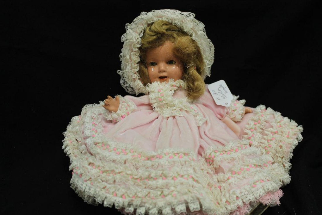 """14"""" composition Shirley Temple doll, with a few minor"""
