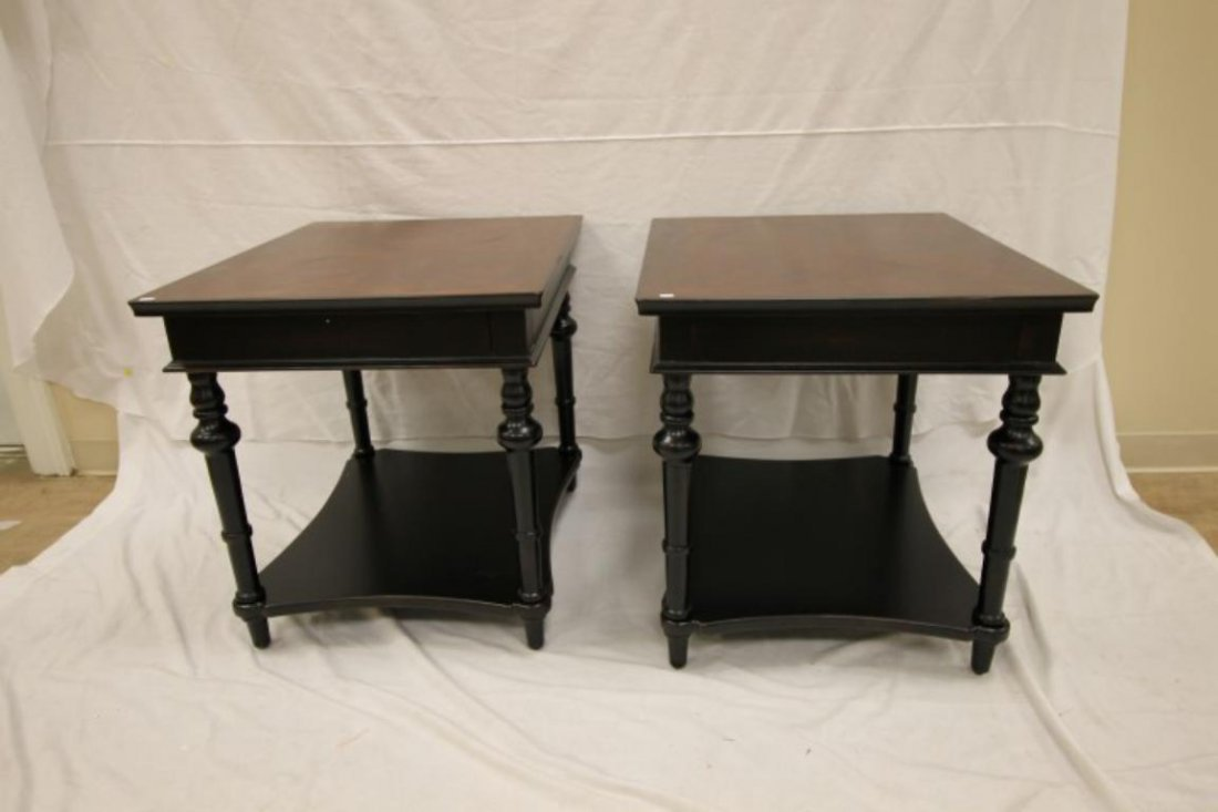Pair of black base side tables with walnut finish