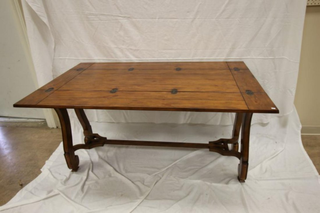 Stressed pine finish folding leaf console table on