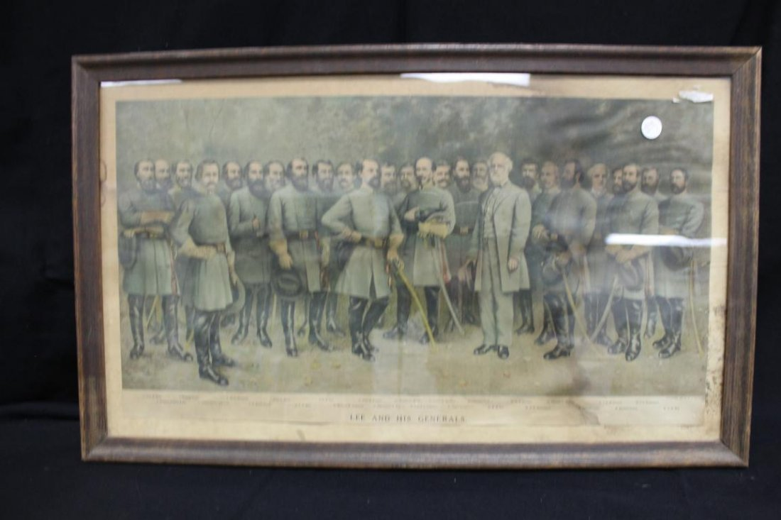 """Framed """"Lee and His Generals"""".  Water stained, 12 /4"""" X"""