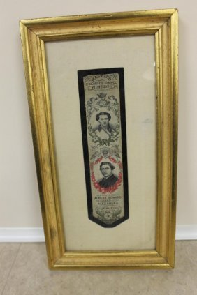 Framed Ribbon Commemorating The March 10, 1863 Marriage