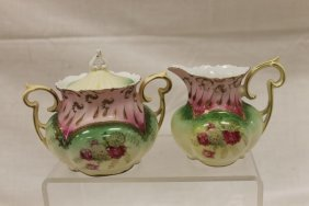Red Mark Rs Prussia Bulbous Covered Sugar And Creamer
