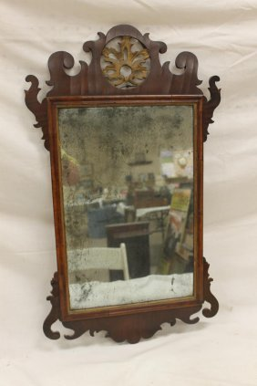 Early Walnut Chippendale Mirror, Minor Veneer Loss And