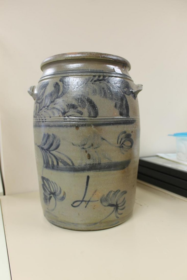 4 gallon, 4-line cobalt decorated stone jar with