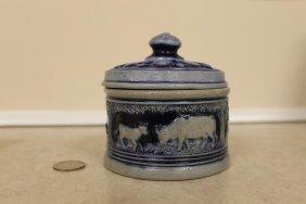 Rare Cobalt Salt Glaze Miniature Butter Tub With