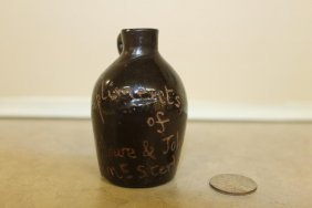 "Rare Miniature Scratch Jug, 3"", Compliments Of Howe &"