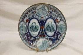 Methodist Centenary Flow Blue Plate By Wood & Sons,