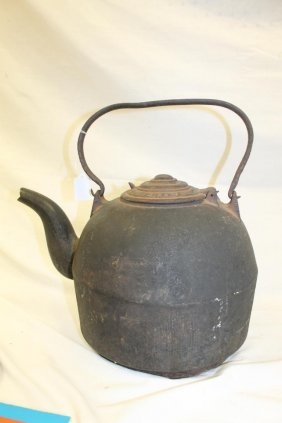 Fine Cast Iron Goose Neck Kettle Marked I.a. Sheppard