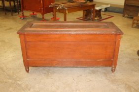 Early Blanket Chest In Red Paint With Turned Feet. 49