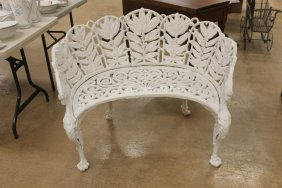American Cast Iron Laurel And Berry Bench With Winged