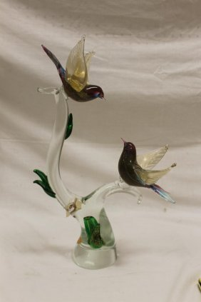 Murano Glass Sculpture With 2 Birds On A Tree Limb,