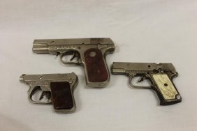 (3) Plated Iron Cap Pistols: Colt Army 45; Captain