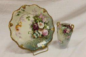 "Limoges 8 1/2"" Gold Decorated Plate With Hand Painted"