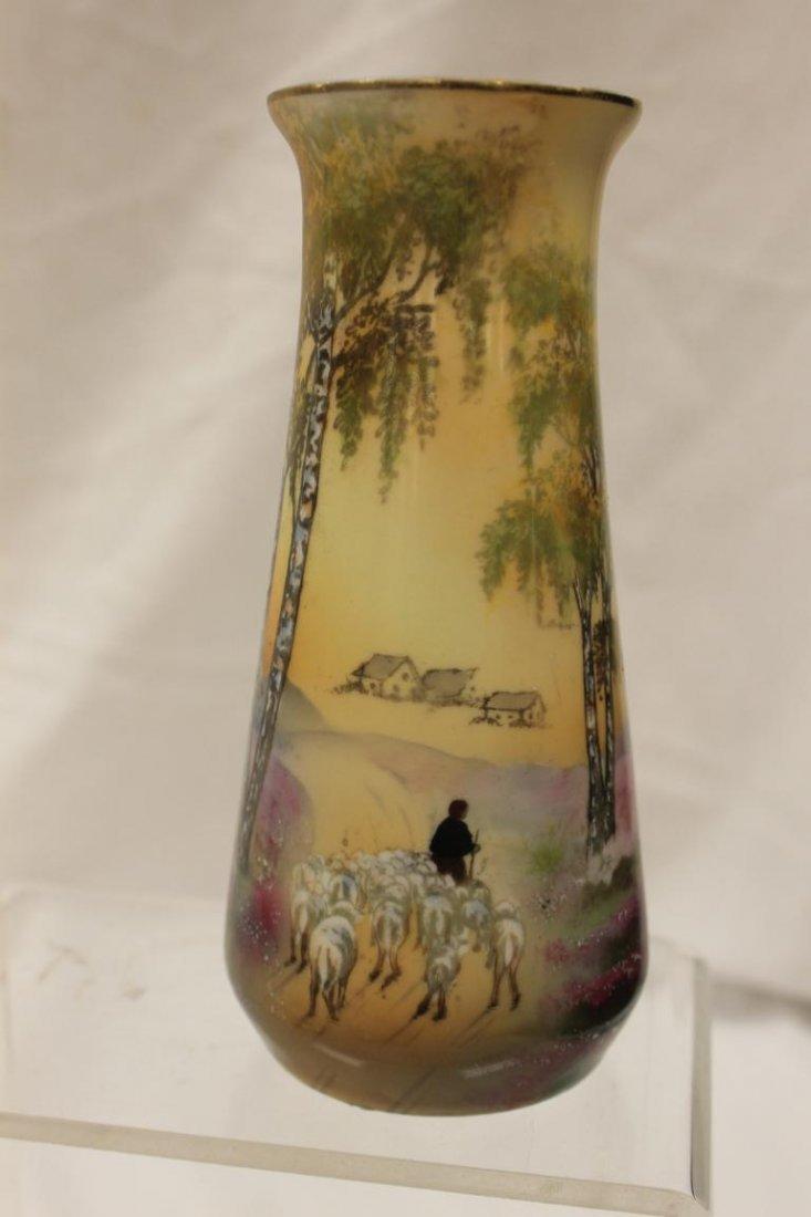 """Steeple mark R.S. Germany Sheepherders vase, 6 1/2"""""""