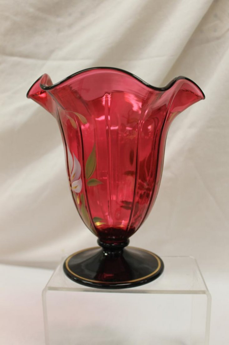 "Fenton 9 1/4"" flared ruffle top pedestal vase with - 4"