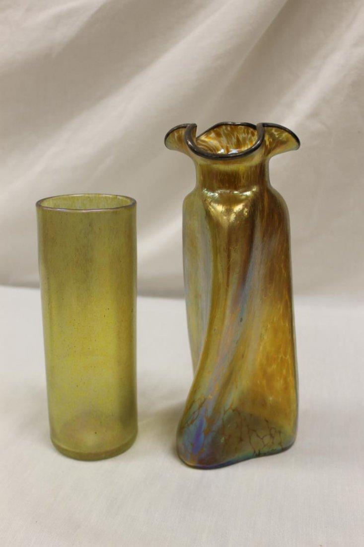 """(2) Loetz style vases, tallest is 9 3/4"""" twisted three"""
