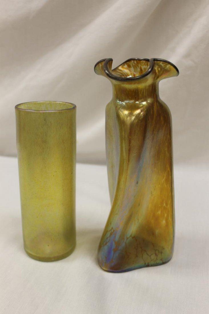 """(2) Loetz style vases, tallest is 9 3/4"""" twisted three - 2"""