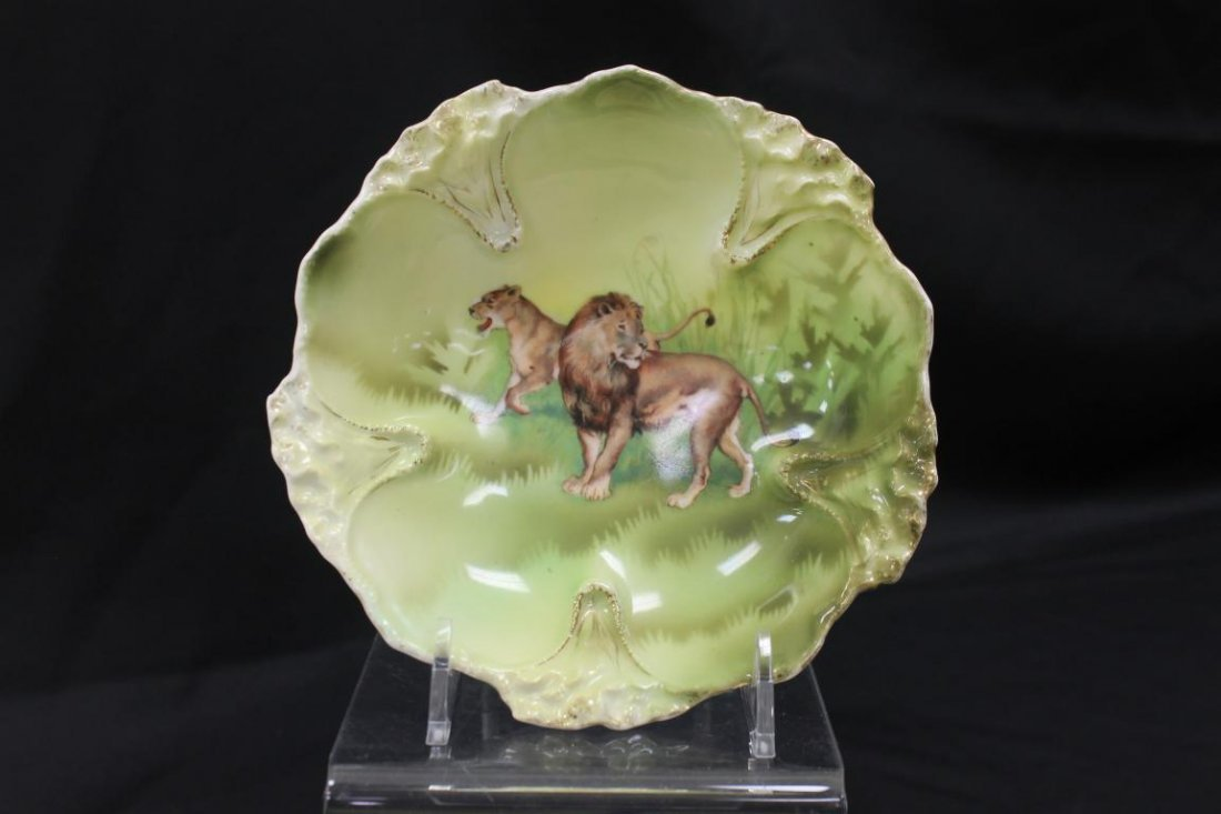 """Unmarked RS Prussia Lion & Lioness berry bowl, 5 5/8""""."""