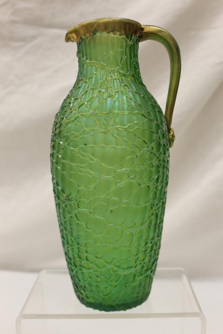 Fine Loetz pitcher with applied gold handle and fishnet