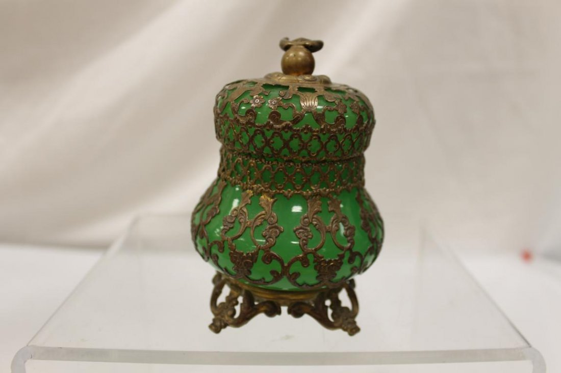 """Mounted green opaque covered jar, app. 4 1/2"""" tall. - 2"""
