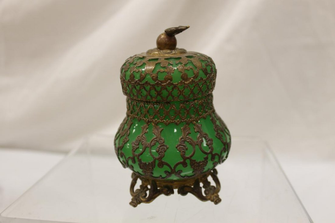 """Mounted green opaque covered jar, app. 4 1/2"""" tall. - 3"""