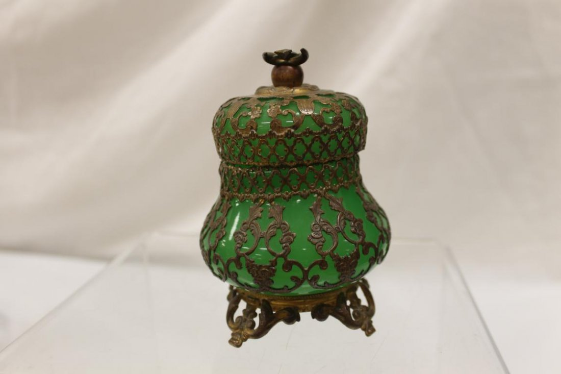 """Mounted green opaque covered jar, app. 4 1/2"""" tall. - 4"""