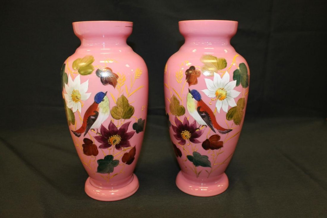 "Pair of 12"" ink cased mantle vases with mirror images"