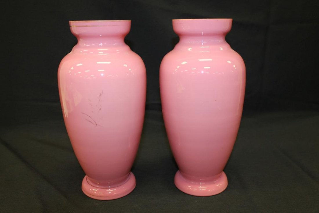 "Pair of 12"" ink cased mantle vases with mirror images - 2"