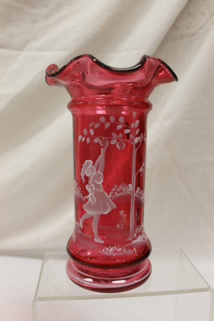 "Fenton 9 1/8"" ruffle top cranberry vase with Mary"