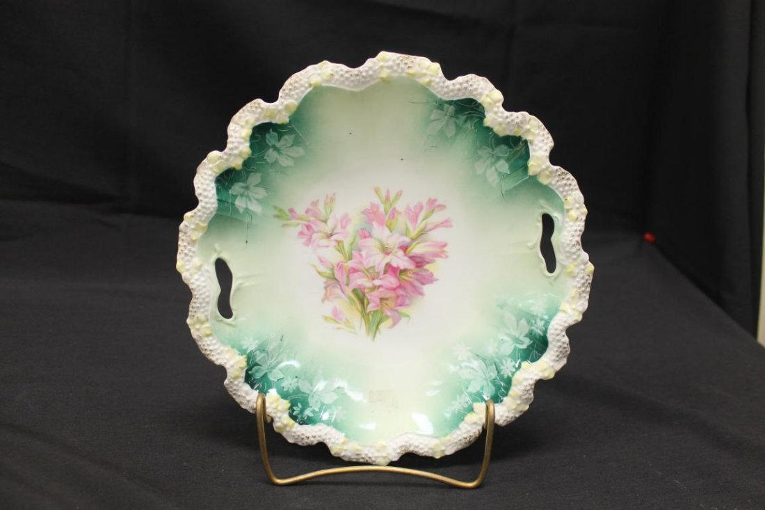 Unmarked RS Prussia deep cake plate with ring mold